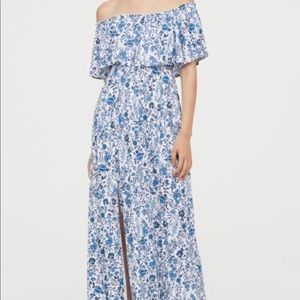 Blue Floral Off the Shoulder Maternity Maxi Dress